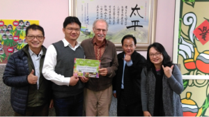 Dr. Jackson with the Tai-ping school principal, Dr. Ding, former dean of the teachers college, Dr. Chen, former chair of the education department, and Dr. Wang of the National Chiayi University.